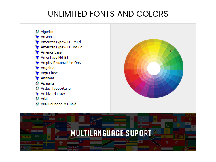 Unlimited Fonts, Colors