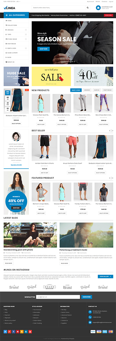 Clothing store website shopify