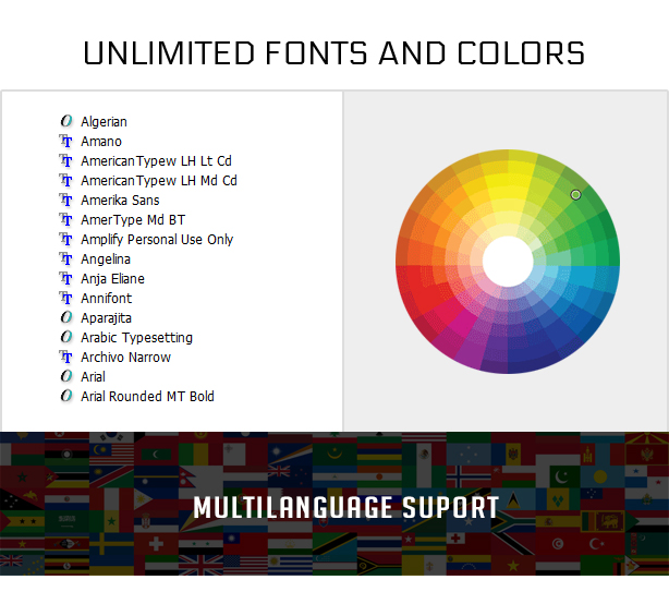 Unlimited Fonts, Colors