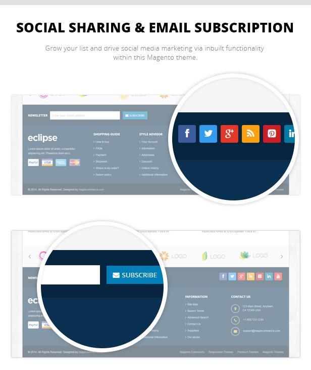 Social Sharing & Email Subscription
