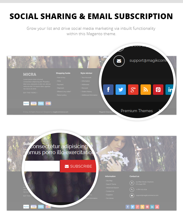 Social Sharing & Email Subscription