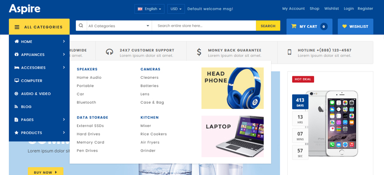 electronic store woocommerce template