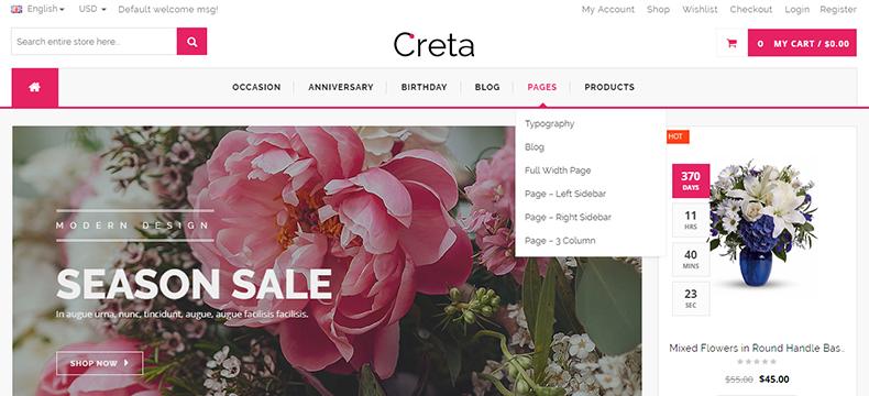 flower store website wordpress