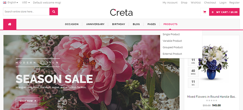 flower store woocommerce template