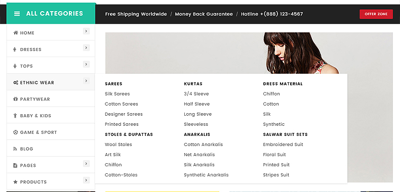 clothing store woocommerce template