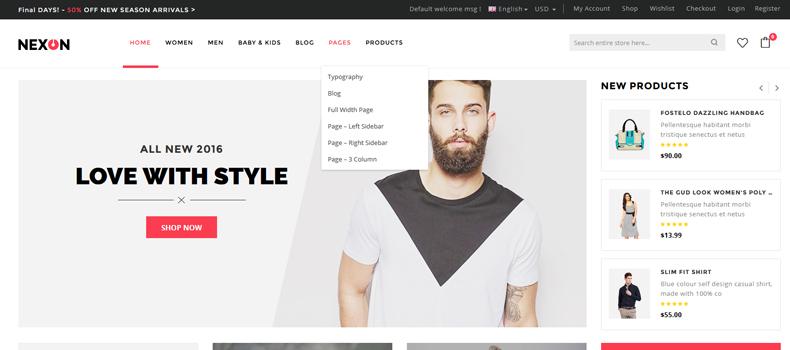 apparel store website wordpress