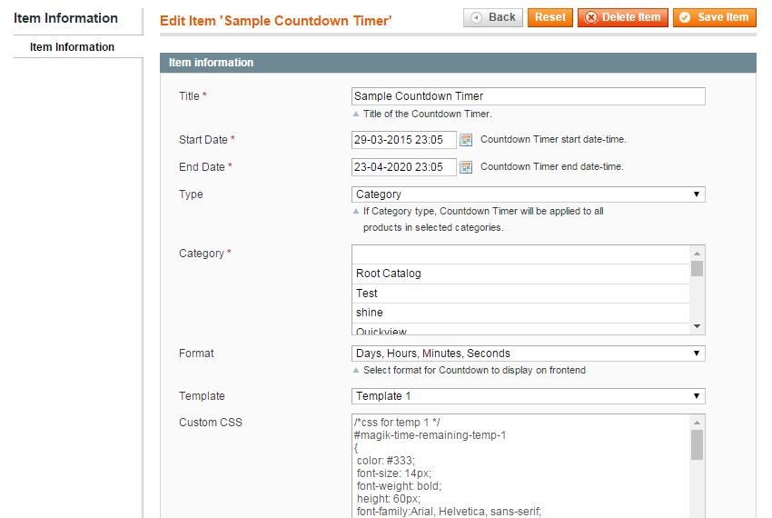 Configure Timer from backend