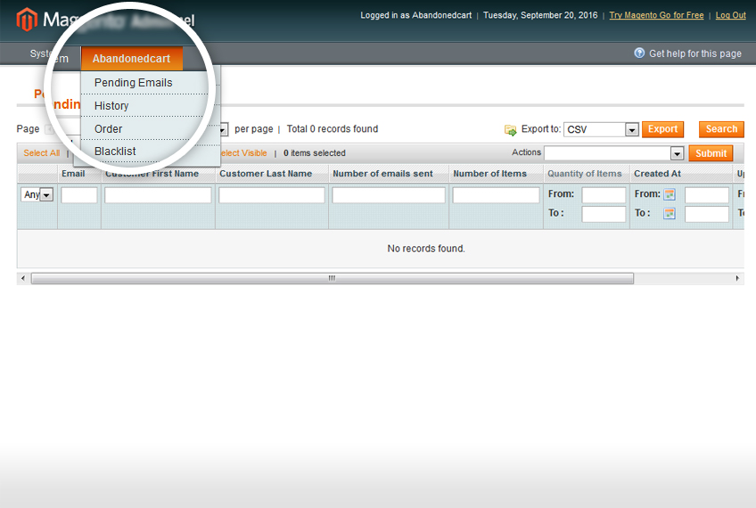 how to add abandon cart to magento