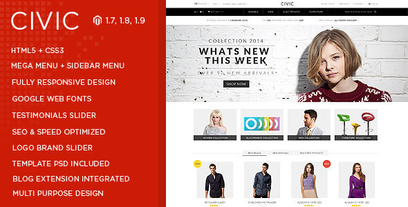 Civic - Watch Store Responsive Magento Theme-0