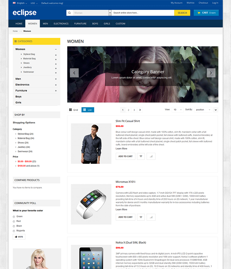 Product List Page with Category Slider