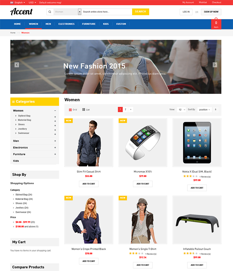 Product Grid Page with Options & Layered Navigation