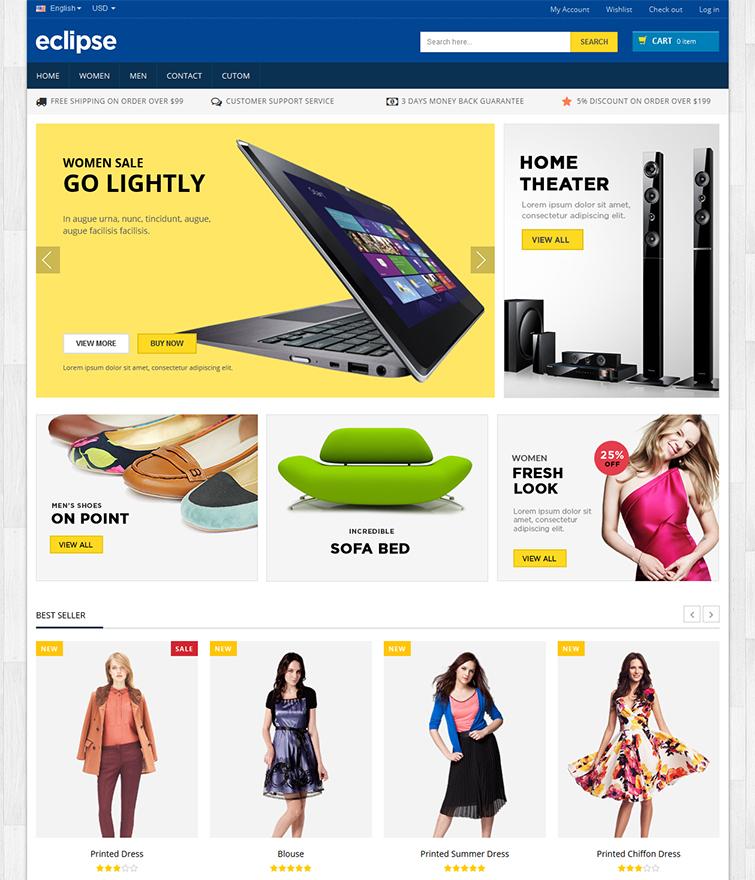 Multi Purpose Homepage with Multiple Layouts & Mega Menu