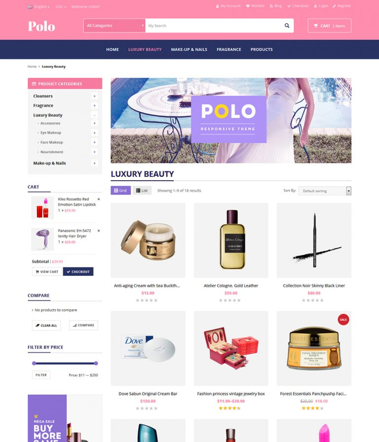 beauty shop wordpress