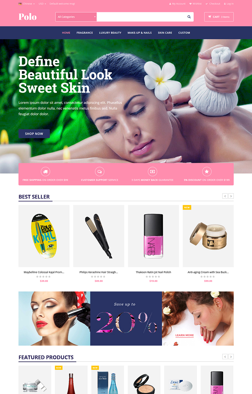 beauty store magento template