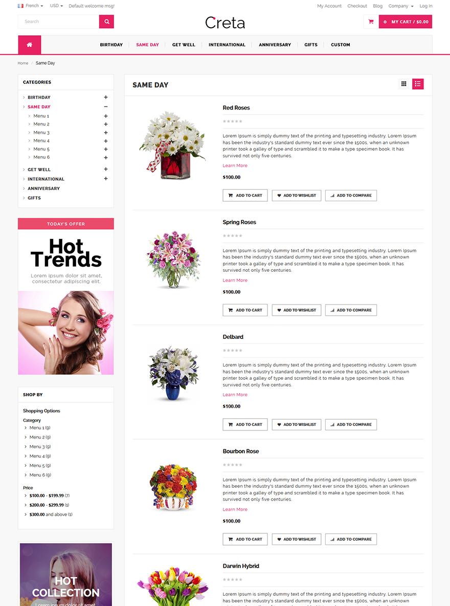 Flower store website magento