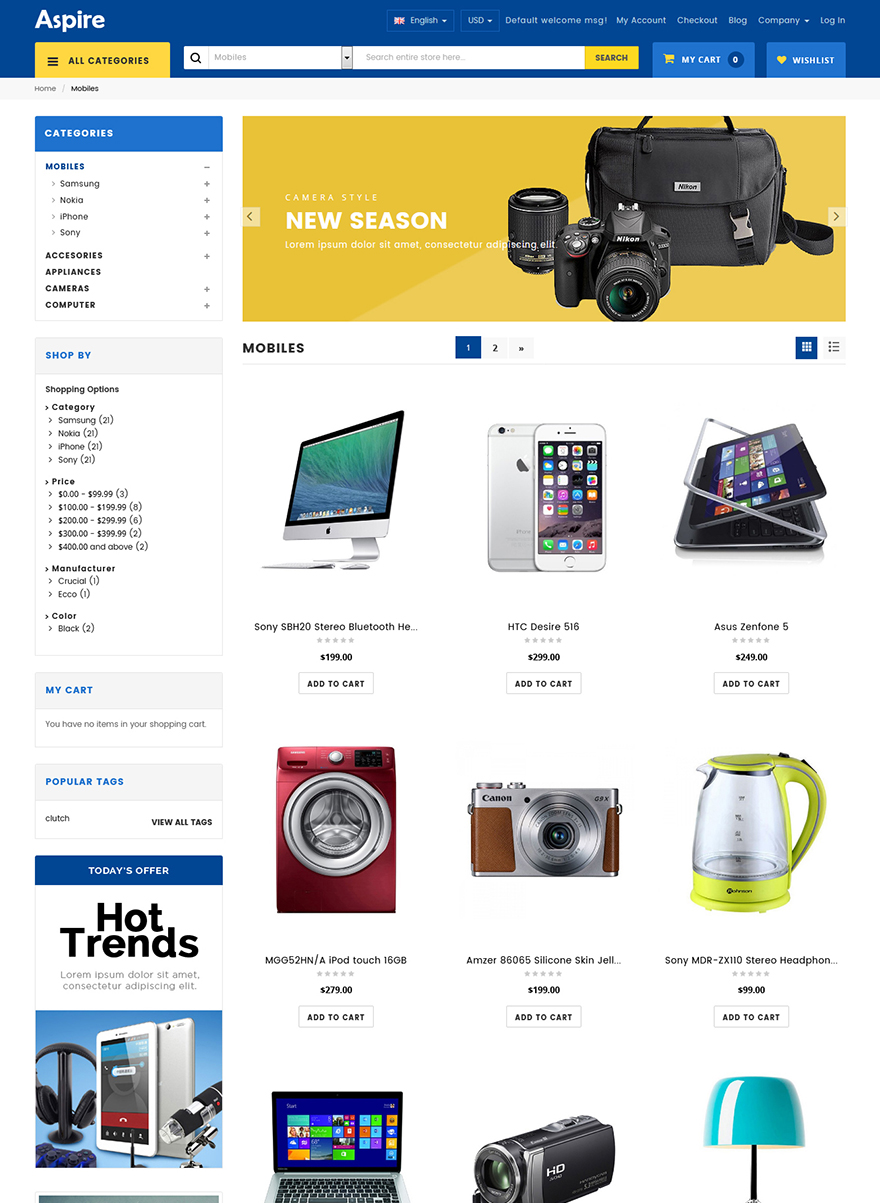 electronic store template