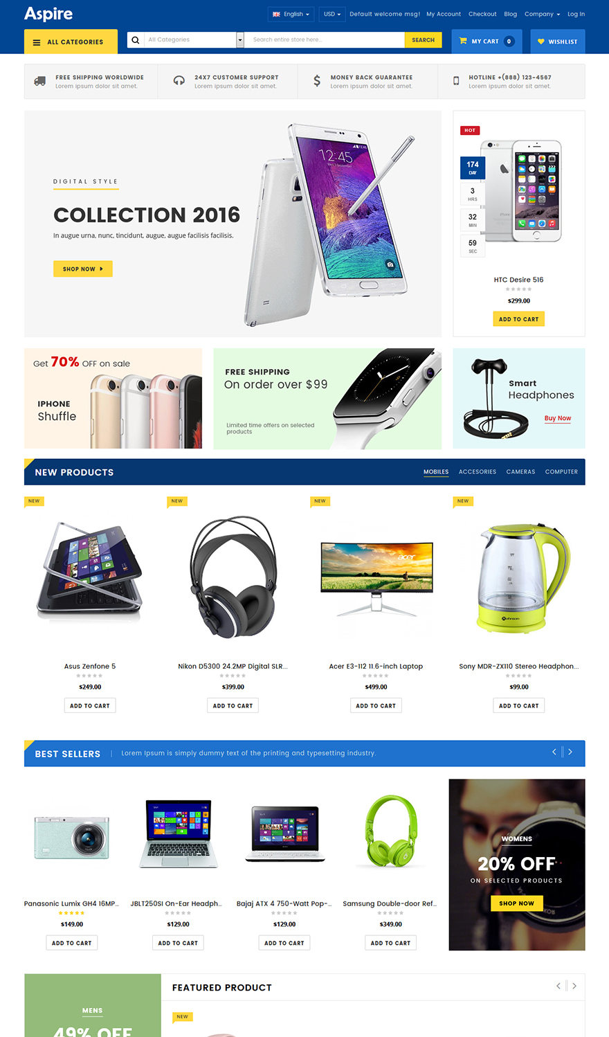 Electronic store magento template