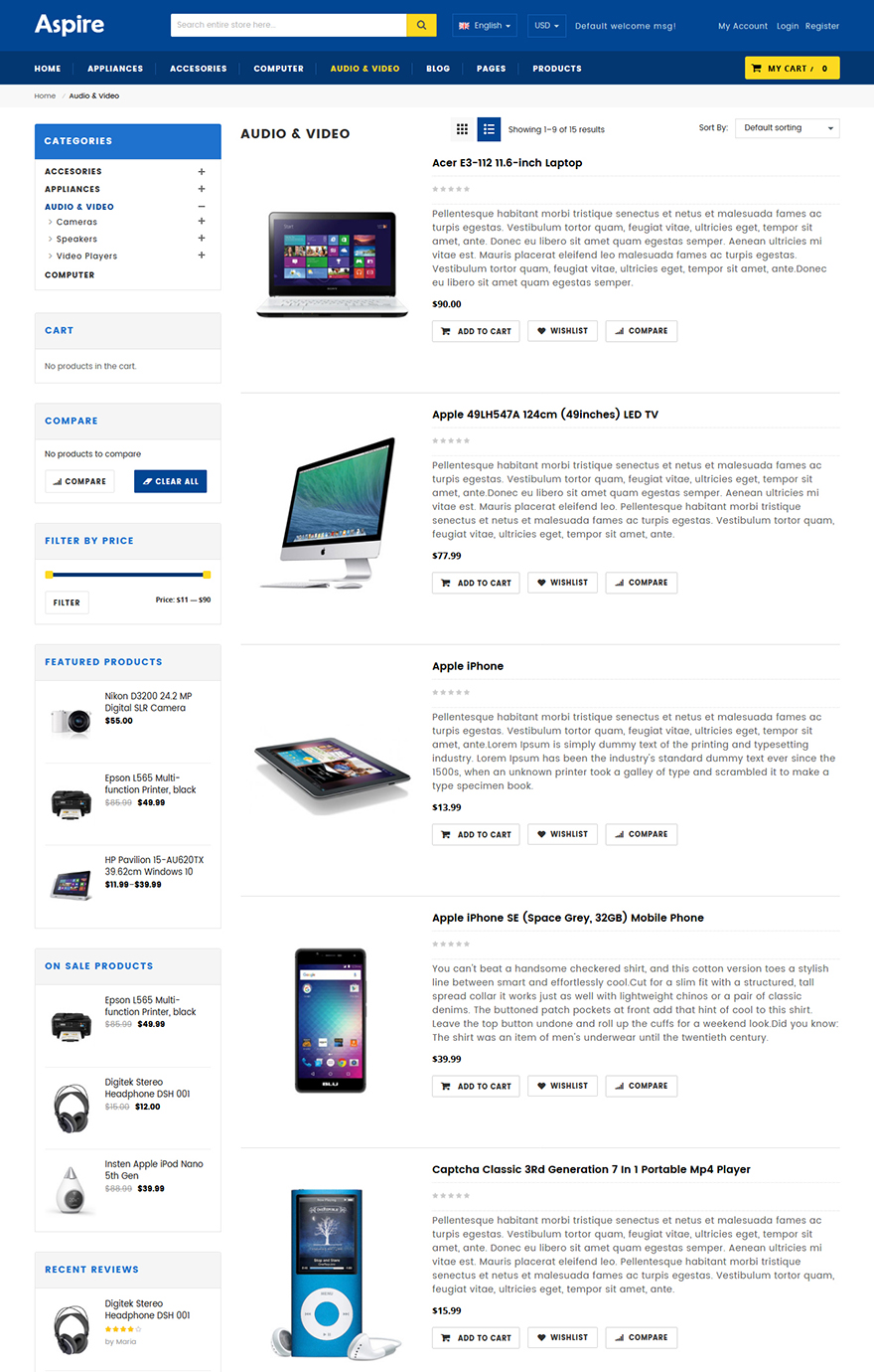 Electronic shop wordpress