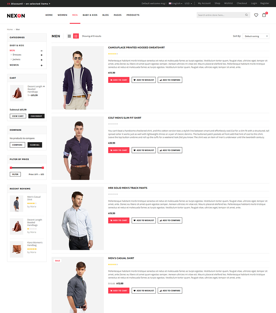 Apparel shop wordpress