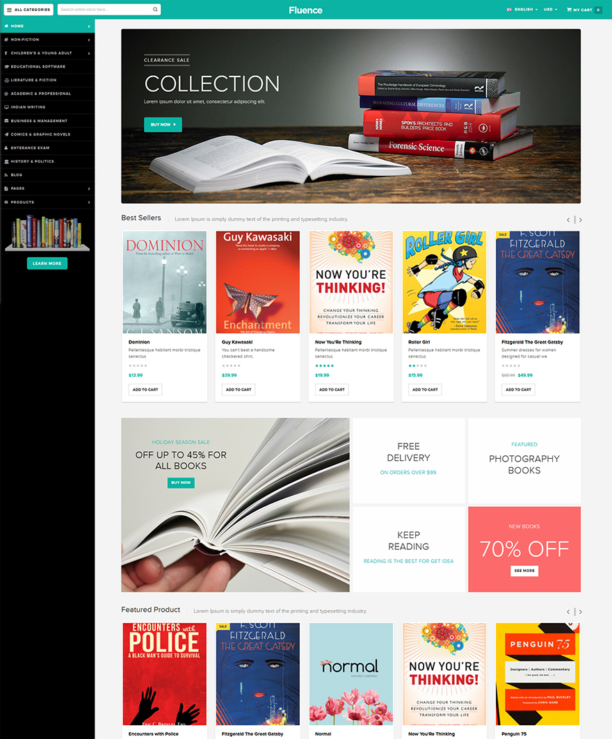 Books store website wordpress
