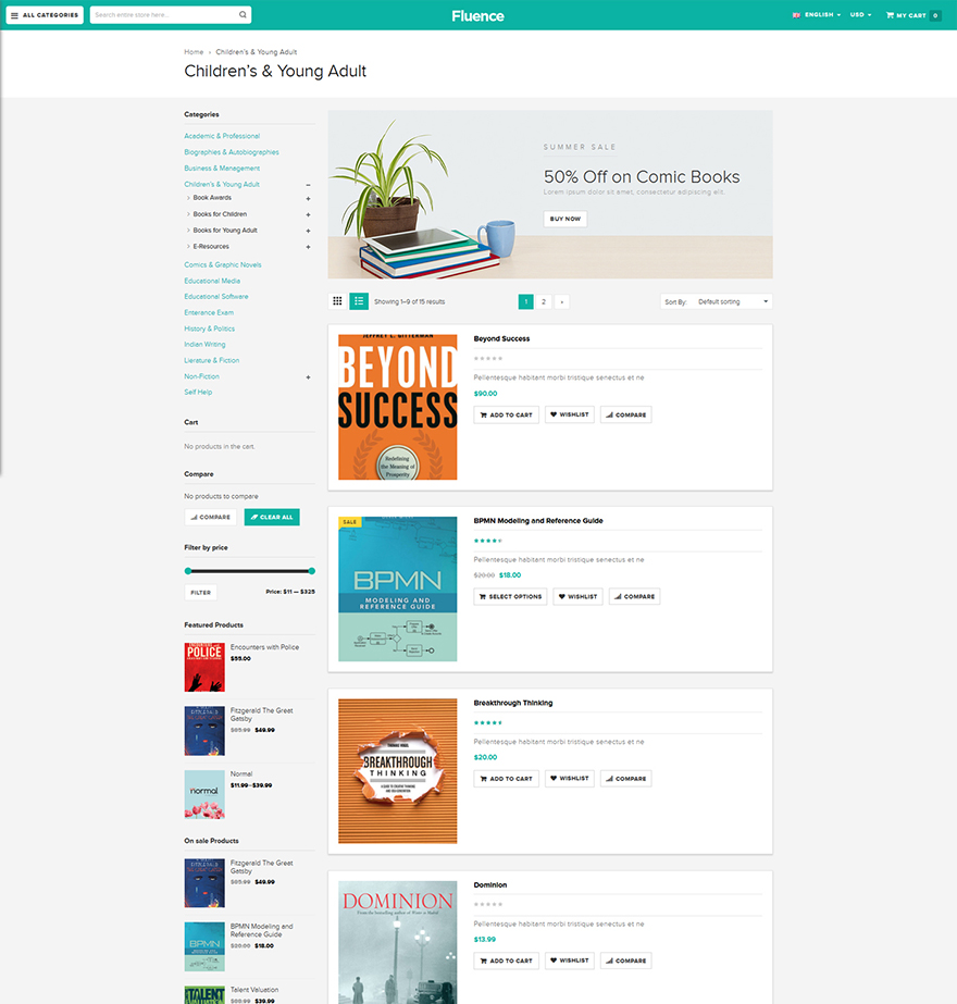 Books store woocommerce template
