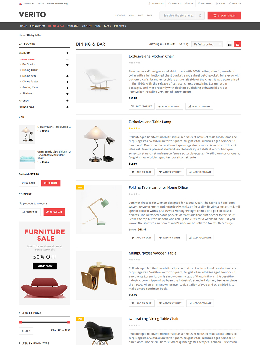 furniture store woocommerce template