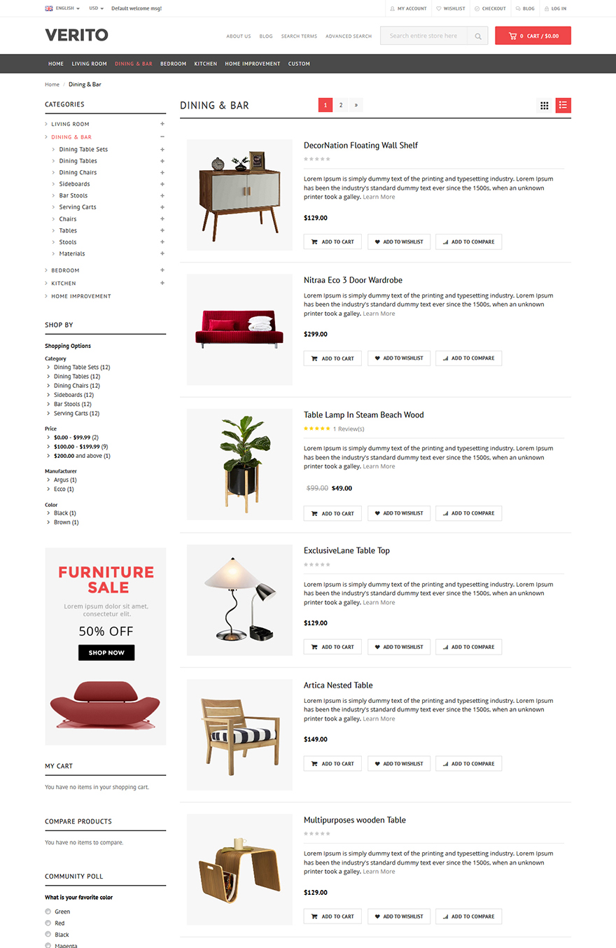 furniture store template