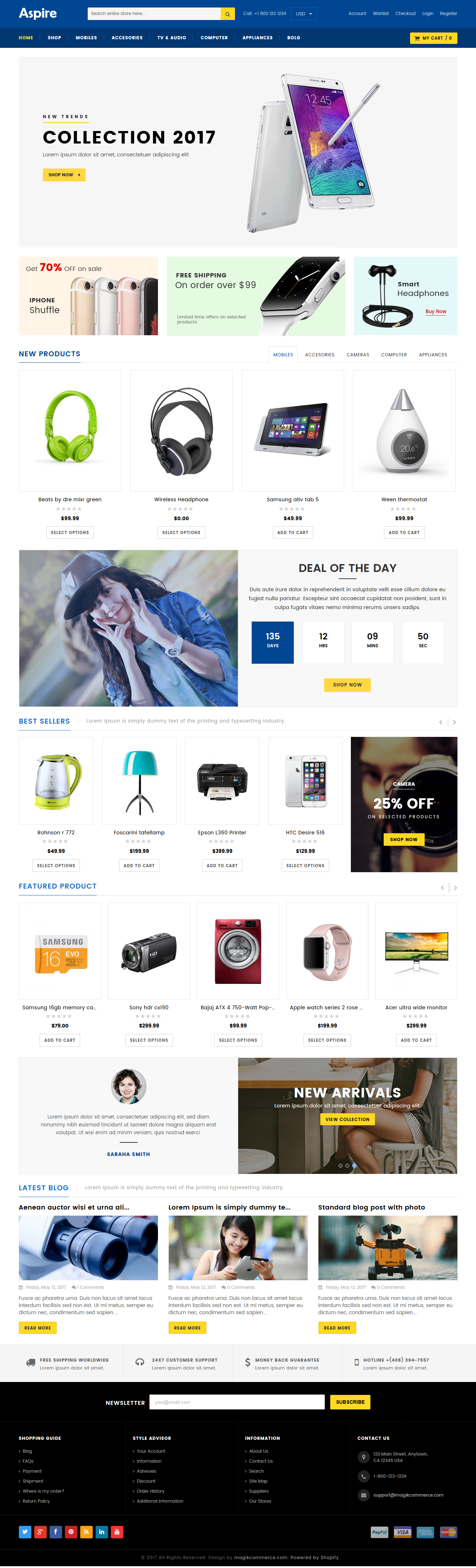 Electronic store shopify template