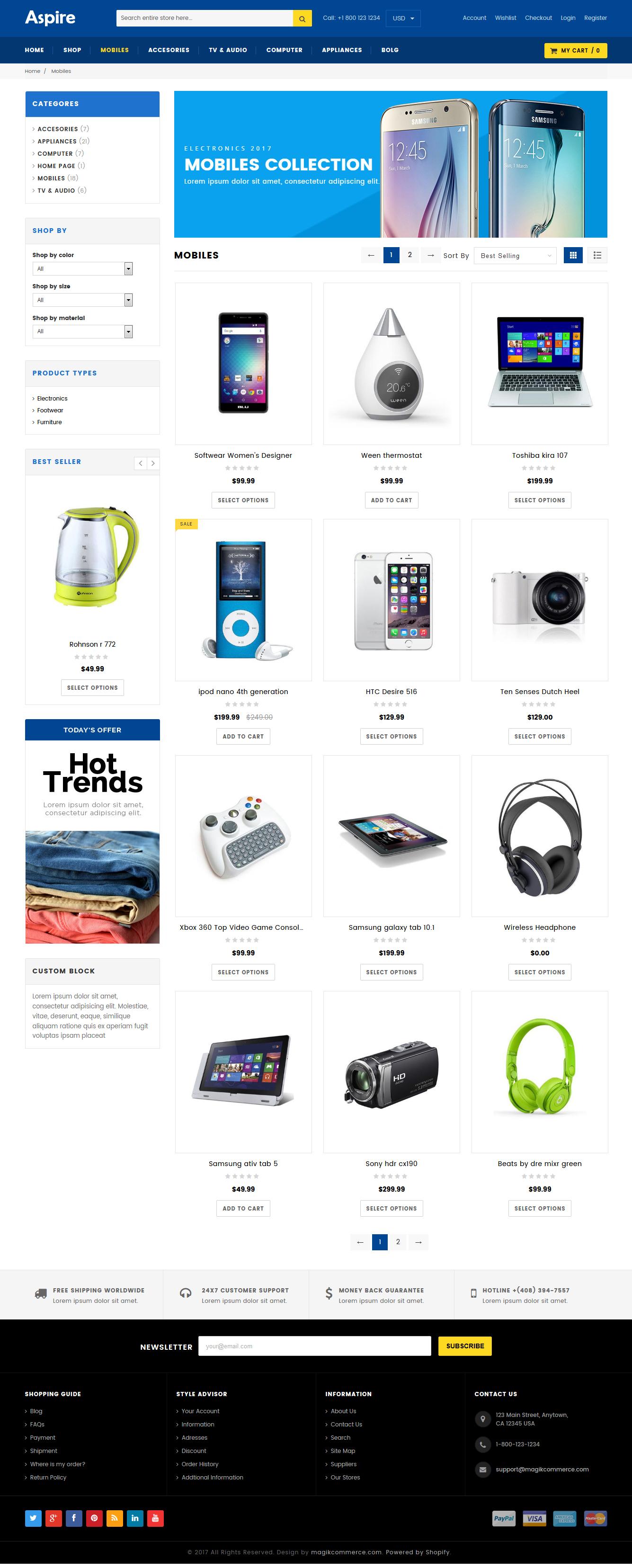 Electronic store theme