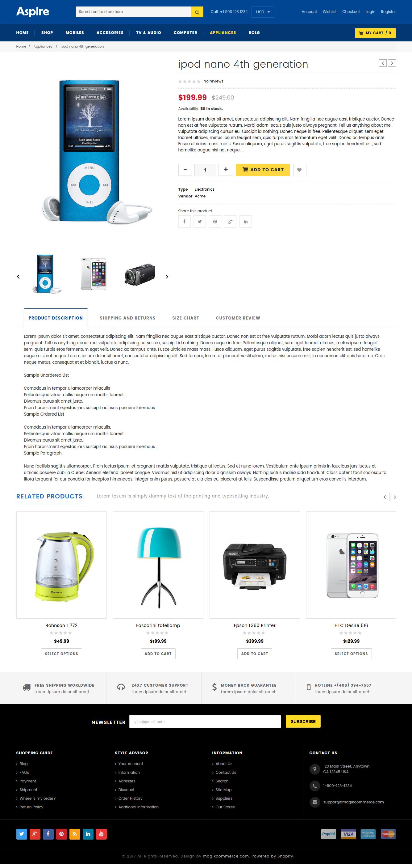 Electronic store website shopify