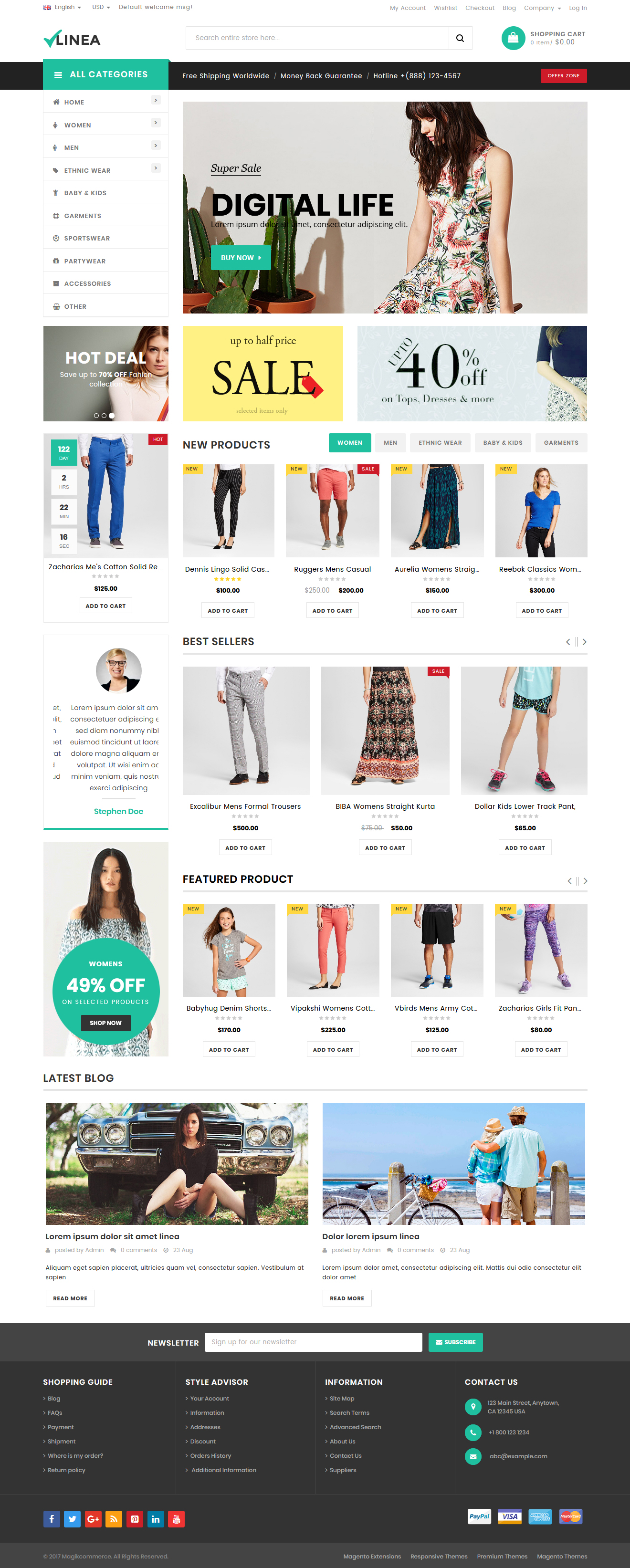 clothing store magento template