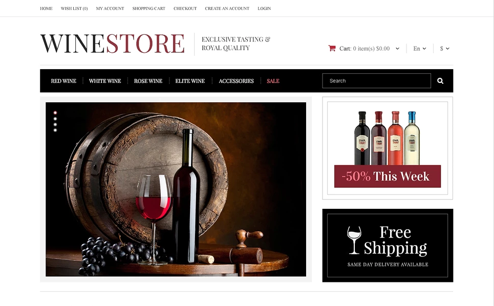 Noble Wines OpenCart Template