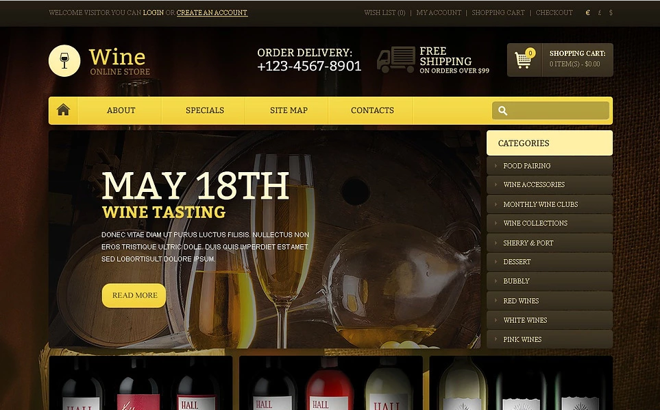 Online Wine Store OpenCart Template