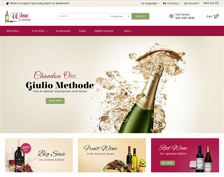 Wine Shop Responsive OpenCart Theme