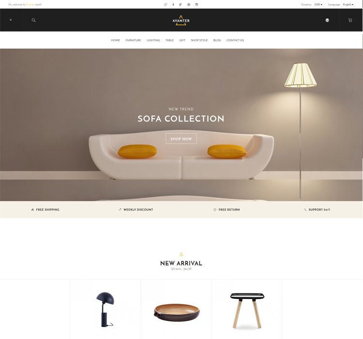 Responsive Home Furniture Magento Theme