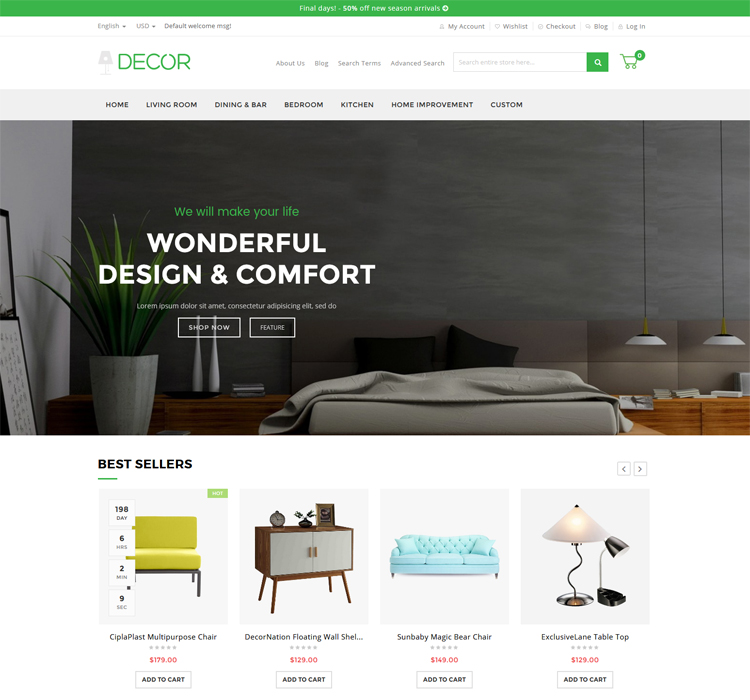 100% Responsive Magento Furniture Store Theme