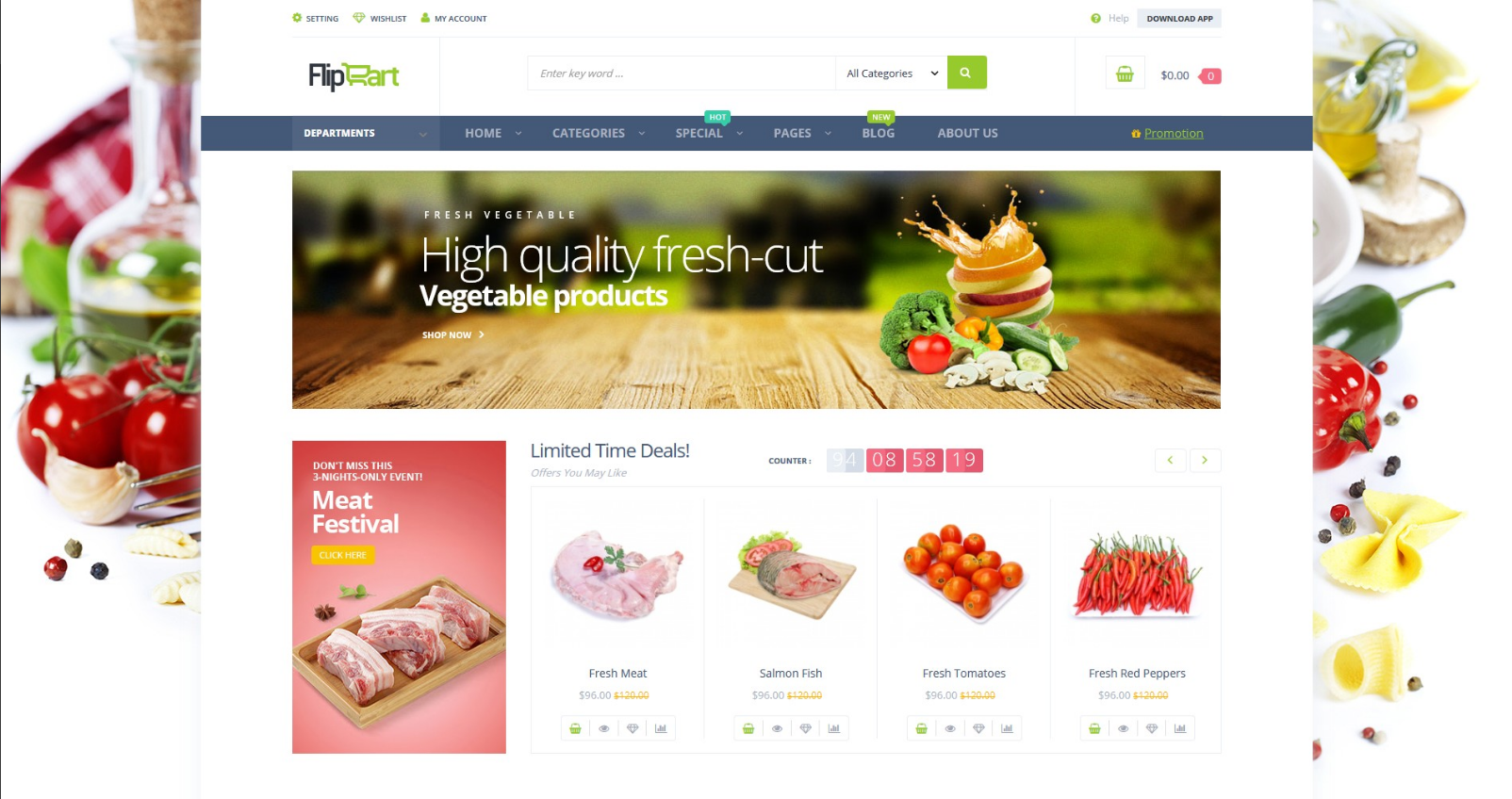 Responsive OpenCart Theme for Food Stores