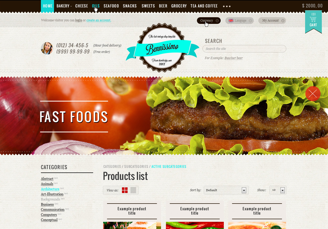 Food store OpenCart Theme