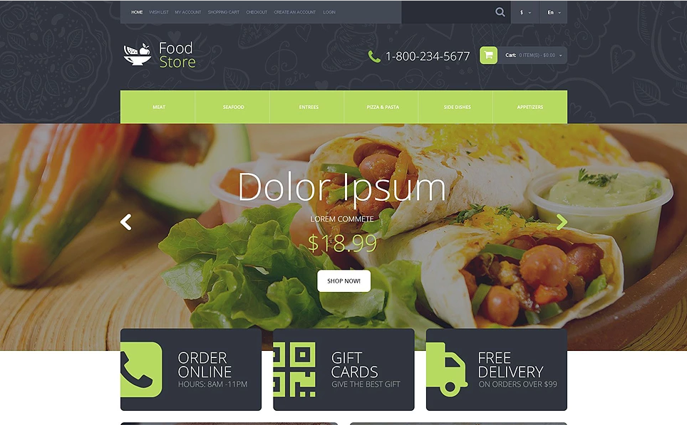 OpenCart Food Store Templates