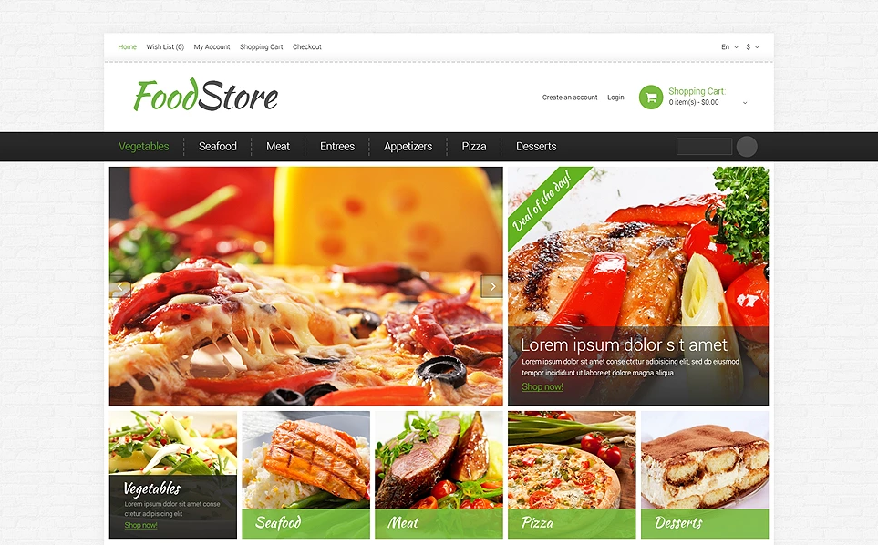 Responsive Restaurant & Food Opencart theme