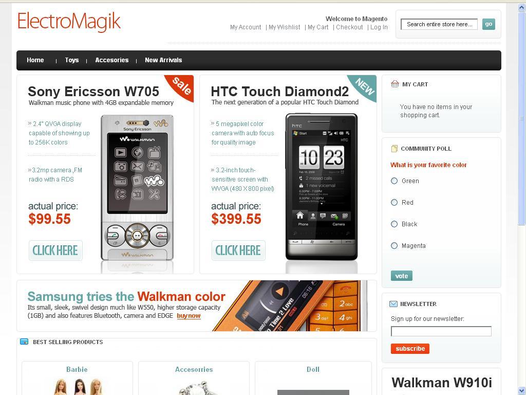 ElectroMagik Magento Theme - Home Page