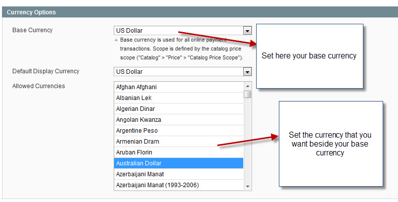 manage currency in magento1