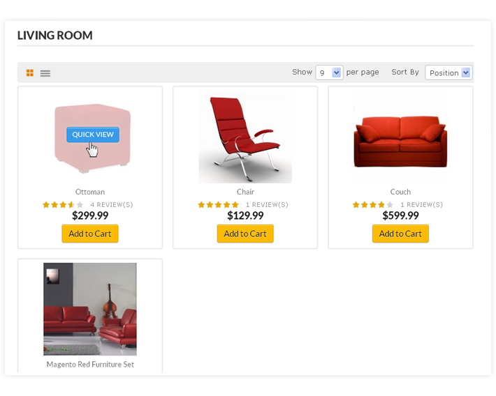 Magento Quick View Listing Page