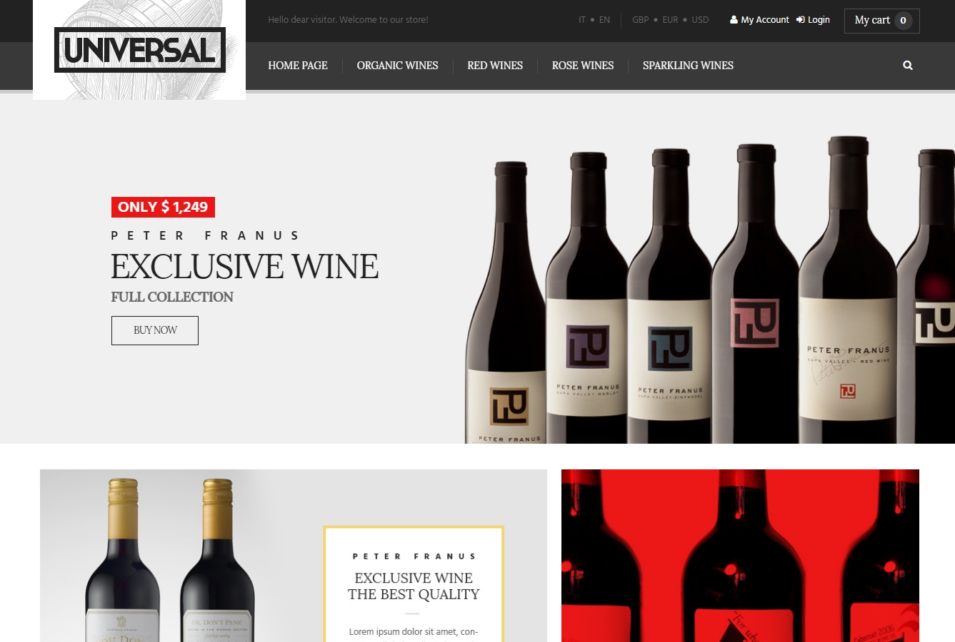 Wine Stores Ecommerce Website Template